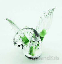 Figurine Hand Blown Glass Swan Bird Cleaning His Feathers No Painted - GG003