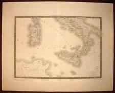 ITALIA ITALIE DU SUD SARDAIGNE SICILE carte geographique ancienne par BRUE 1838