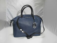 MICHAEL KORS NAVY BLACK RILEY  LEATHER LARGE SATCHEL HANDBAG