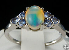 1.25ct Ethiopian Opal w/Tanzanite Accents 925 Solid Sterling Silver Ring, Size 8