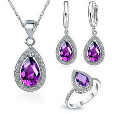 Pendant Necklace Huggie Hoop Earring And Ring Wedding Party Jewelry Sets Ring 7