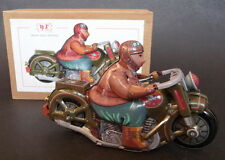 CLASSIC MOTORCYCLE with RIDER Wind Up Tin Toy clockwork