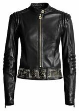 VERSACE For H&M Black Biker Gold Studded Zipper Leather Jacket EUR 34 US 4 UK 8