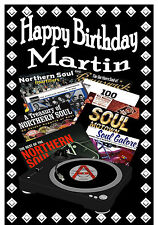 NORTHERN SOUL (RECORD COVERS) - HAPPY BIRTHDAY PERSONALISED CARD (ANY NAME)  NEW