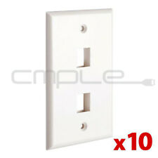 10 Pack Lot 2 port Hole Keystone Jack Wall Plate -White