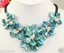 """Elegant Hand Woven Natural Blue MOP Shell White Pearl 5 Flower Necklace 18"""""""