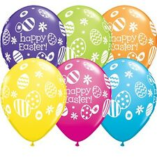 "Happy Easter Eggs & Daisies Tropical Assortment 11"" Qualatex Latex Balloons x 5"