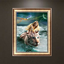 DIY 5D Tiger & Beauty Diamond Painting Cross Stitch Embroidery Home Decor