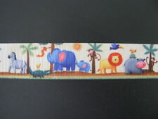 "zoo animals grosgrain ribbon 7/8"" per 1 m hair scrapbooking card making"