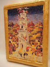 The Tower of Babel Old World Biblical Roman Catholic Religious Icon on Pine Wood