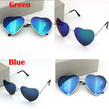 Fashion Women Men Love Heart Metal Film Reflective Sunglasses Glasses Blue