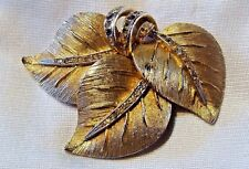 VINTAGE SIGNED VENDOME GOLD TONE RHINESTONE LEAF PIN BROOCH