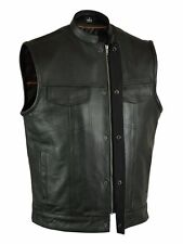 SOA  Men's Anarchy Leather Motorcycle Biker Vest concealed carry for firearms