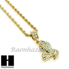 """MEN HIP HOP ICED OUT PRAYING HANDS PENDANT w/ 4mm 24"""" ROPE NECKLACE CHAIN SN231"""