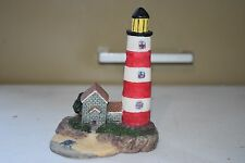 "Resin Lighthouse Red & White Striped Nautical Figure 4.5"" Tall LH-66"