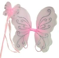 Girls Pink Glitter Fairy Christmas Angel Wings And Wand Fancy Dress Set