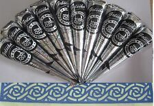 10 BLACK COLOR HENNA CONE Temporary Tattoo KIT Body ink PAINT Mehandi makeup DIY