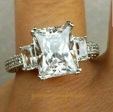 4.00C 14k White Gold Princess man made diamond Engagement Wedding Ring S 6.5