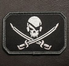 PIRATE SKULL & SWORDS TACTICAL CALICO JACK ARMY MORALE BADGE SWAT VELCRO PATCH