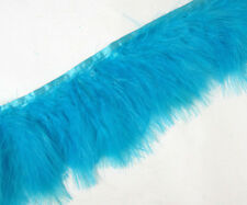 F467 PER 30cm-Teal Blue Turkey Marabou Hackle Fluffy Feather Fringe Trim Craft