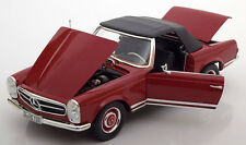 Norev 1969 Mercedes Benz 280 SL Convertible with removable Softtop Red 1/18 New!