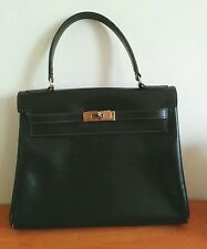 Lederer de Paris Kelly Bag Black Leather Classic Gorgeous France foldover style
