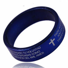 Stainless Steel Men's Unisex  Band Ring Holy Bible/Cross Pattern Size 8