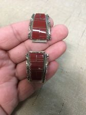 Native American Navajo Red Spiny Oyster Inlay Large Watch Band Tips # 2
