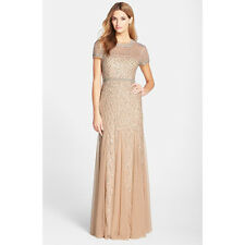 ADRIANNA PAPELL BEADED GODET SHEER SLEEVE CHAMPAGNE GOWN DRESS sz 6
