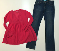 Girl Fall Winter Outfit Denim Old Navy Pants & Place Long Sleeve Top Size 10-12