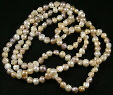 Mauve Peach White Freshwater Pearl Baroque Nugget Long Strand Necklace 58""