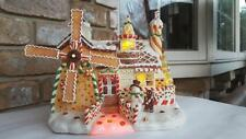"Fiber Optic Lighted Christmas Gingerbread House Battery Operated 10"" w/ Windmill"