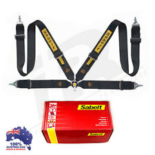 """SABELT LIGHTWEIGHT RACING CAMLOCK HARNESS BLACK 4 POINT 3"""" SNAP ON QUICK RELEASE"""