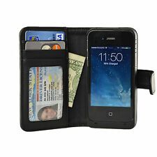 Navor iPhone 4 4S Battery Powered Wallet Leather Case 2000mAh - Black