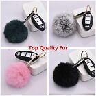 New Real Rabbit Fur Ball KeyChains Crystal Leather Car Key Ring For Handbag Gift