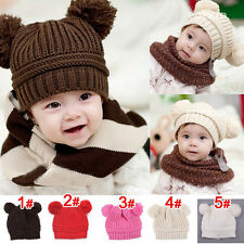 Baby Toddler Kids coffee CAT EAR Winter Warm Wool Crochet Knitted Beanie Hat Cap