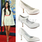 WOMENS LADIES BRIDAL WEDDING MID HEEL IVORY WHITE SILVER PROM PARTY SHOES SIZE