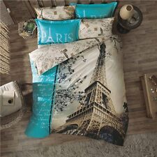 3D DOUBLE DUVET QUILT COVER SET PARIS IN LOVE 4 PCS Turquoise NEW EIFFEL TOWER i