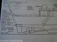 A MODEL BOAT PLAN 1,000 TON WARSHIP VICKERS VEDETTE ON A3