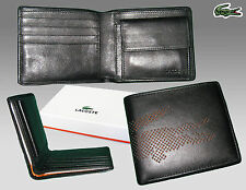 New Authentic LACOSTE LEATHER WALLET Punched Croc 6 Black Small Billfold +CP
