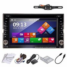 GPS Multimedia 1080P Double 2DIN Car Stereo DVD Player Bluetooth iPod MP3 TV+Cam
