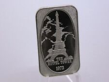 USSC PARIS FRANCE EIFFEL TOWER FROSTED EDGES BACK GROUND HIGH RELIEF SILVER BAR