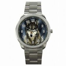 Silver Wolf Face Wild Animal Accessory Stainless Steel Sport Watch New!