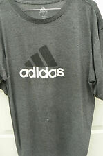ADIDAS GRAY T-SHIRT-MENS LARGE-HUGE LOGO ON FRONT-SMALL WHITE SPOT-GOOD COND
