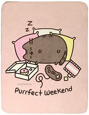 "Pusheen The Facebook Cat ""PURRFECT WEEKEND"" Super Plush Throw Blanket 45"" x 60"""