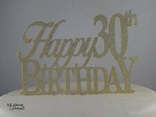All About Details Gold Happy-30th-birthday Cake Topper, New, Free Shipping