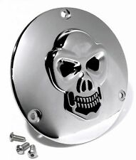 Derby Cover Kupplungsdeckel Chrom 3-D Skull für Harley Big Twin Chopper Bike