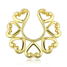 Gold Plated Non Piercing Clip On Heart Design Nipple Ring / Shield