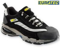 MENS EUROTEC BLACK LEATHER LIGHTWEIGHT SAFETY STEEL TOE CAP WORK TRAINERS BOOTS