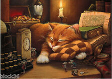 CAT SLEEPS AND SEES MICE IN HIS DREAM TYPEWRITER CLOCK BOOK Modern Russian card